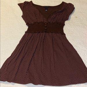 Brown with pink polka dots shirt